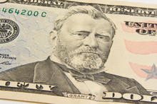 Front Of The Fifty Dollar Bill With A Portrait Of President Ulysses Simpson Grant . The 18th U.S. President  Ulysses S. Grant Close-up
