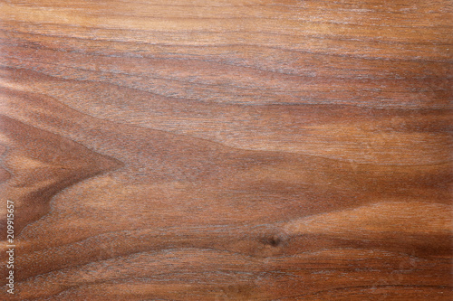 Türaufkleber Holz Rich Brown Background of Figured and Textured Grain of Walnut Wood Plank