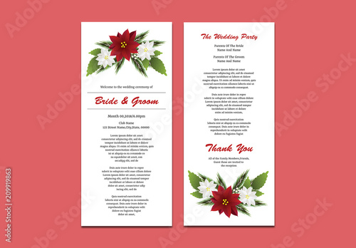 wedding program layout with red and white flowers buy this stock
