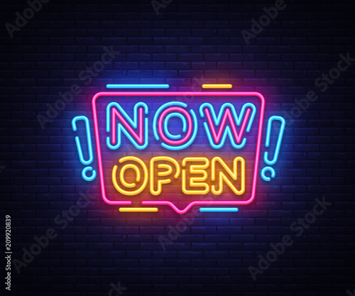 now open neon signs vector now open design template neon sign