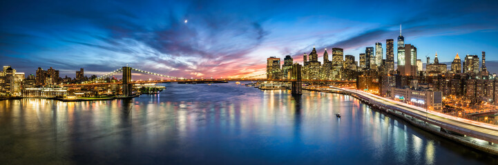 Panorama panoramę Nowego Jorku z Most Brookliński i widok na Manhattan