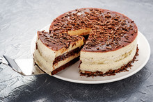Homemade Tiramisu Cake, Italian Dessert On Gray  Background.