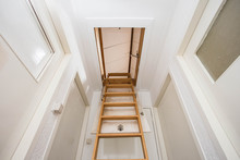 Wooden Staircase To The Attic ...