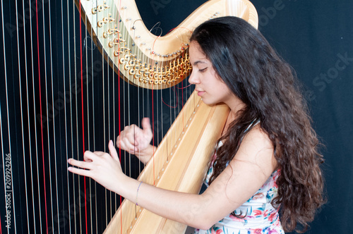 Tablou Canvas Close-up of a beautiful girl with long brown hair playing the harp