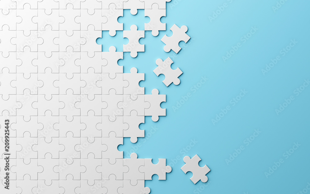 Fototapeta Jigsaw puzzle, pattern texture separated on blue background. 3d illustration
