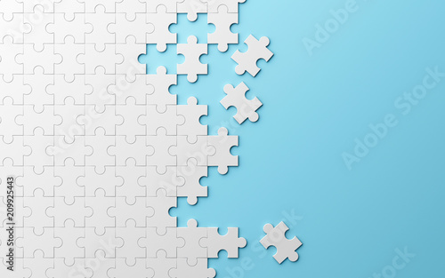 Obraz Jigsaw puzzle, pattern texture separated on blue background. 3d illustration - fototapety do salonu