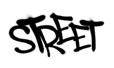 Sprayed street font graffiti with overspray in black over white. Vector illus...