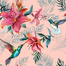 Beautiful Colorful Flying Hummingbirds And Red Flowers On Pink Background. Exotic Tropical Seamless Pattern. Watecolor Painting. Hand Painted Illustration.
