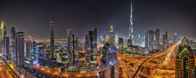 Panorama Of Dubai Skyline During Sunset, United Arab Emirates.