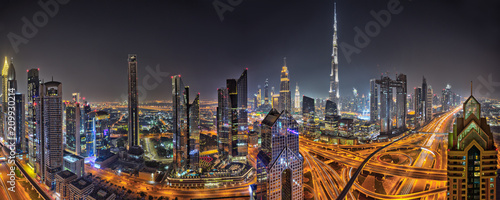 Recess Fitting Dubai Panorama of Dubai skyline during sunset, United Arab Emirates.