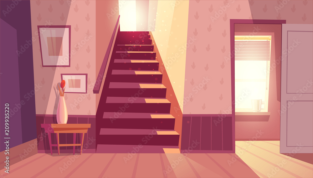 Fototapeta Vector interior with staircase and white open door in living room. Home inside with light from window and shadows on steps. Front view of stairs with handrail, table with vase in maroon colors.
