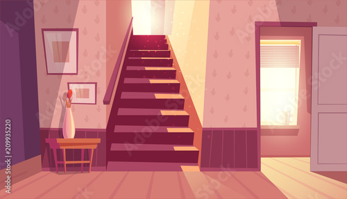 Fototapeta Vector interior with staircase and white open door in living room. Home inside with light from window and shadows on steps. Front view of stairs with handrail, table with vase in maroon colors. obraz