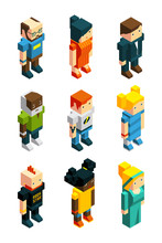 3D Low Poly Peoples. Isometric...