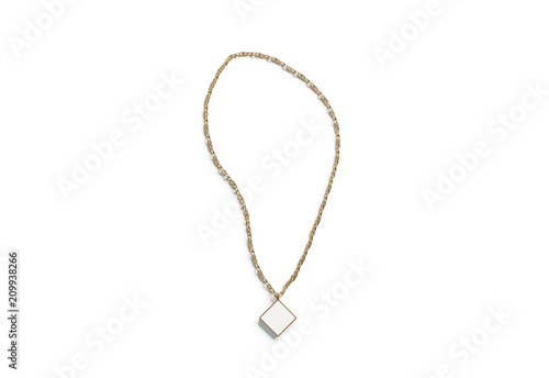 Fototapeta Blank white golden pendant rhombus mockup top view isolated, 3d rendering