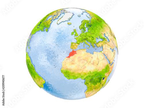 Fotografie, Obraz  Morocco on globe isolated