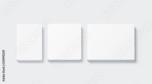 Fotografering  Blank white square and rectangular hardback books mock up, top view, 3d rendering
