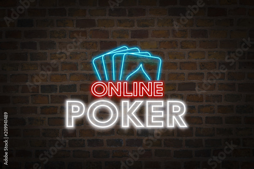 Neon signboard Online Poker and Four playing cards Poster