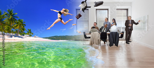 Fotografie, Obraz Collage, girl jumping from office to tropical beach