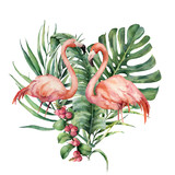 Watercolor heart with palm leaves and flamingo. Hand painted exotic bird, coconut and banana branch, monstera, berries isolated on white background. Love. Print for design or card. - 209943075