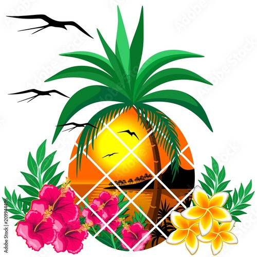 In de dag Draw Pineapple Tropical Sunset and Flowers