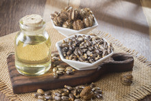 Seeds And Castor Oil On The Wo...