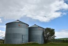 Two Large Grain Silos