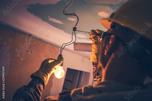 Photo  Working Contractor Electrician