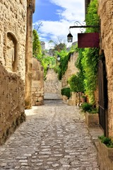 Rustic old street in the village of Les Baux de Provence, southern France