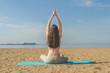 the girl doing yoga, doing asanas