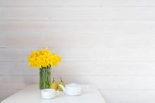 Yellow Daffodils In Glass Jar ...