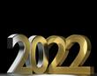 2022 metallic silver gold 3d rendering