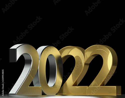 2022 metallic silver gold 3d rendering Poster