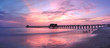 canvas print picture - Pink and purple sunset over the Naples Pier