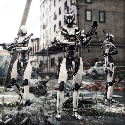 Photo Artificial Intelligence self aware android robots patrolling a destroyed city