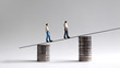 canvas print picture - Two miniature men walking on two piles of coins.