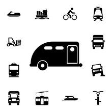 Car Trailer Icon. Detailed Set...