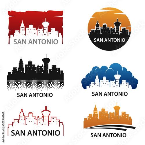 Photo San Antonio City Skyline Logo Vector