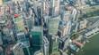 Aerial top view Singapore city skyline.