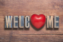 Welcome Heart Wooden