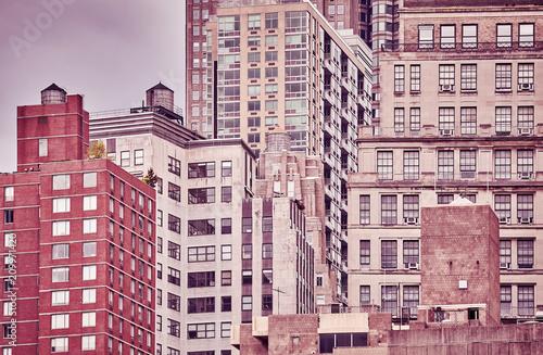 Rocznik tonujący obrazek starzy Manhattan budynki, Miasto Nowy Jork, usa.