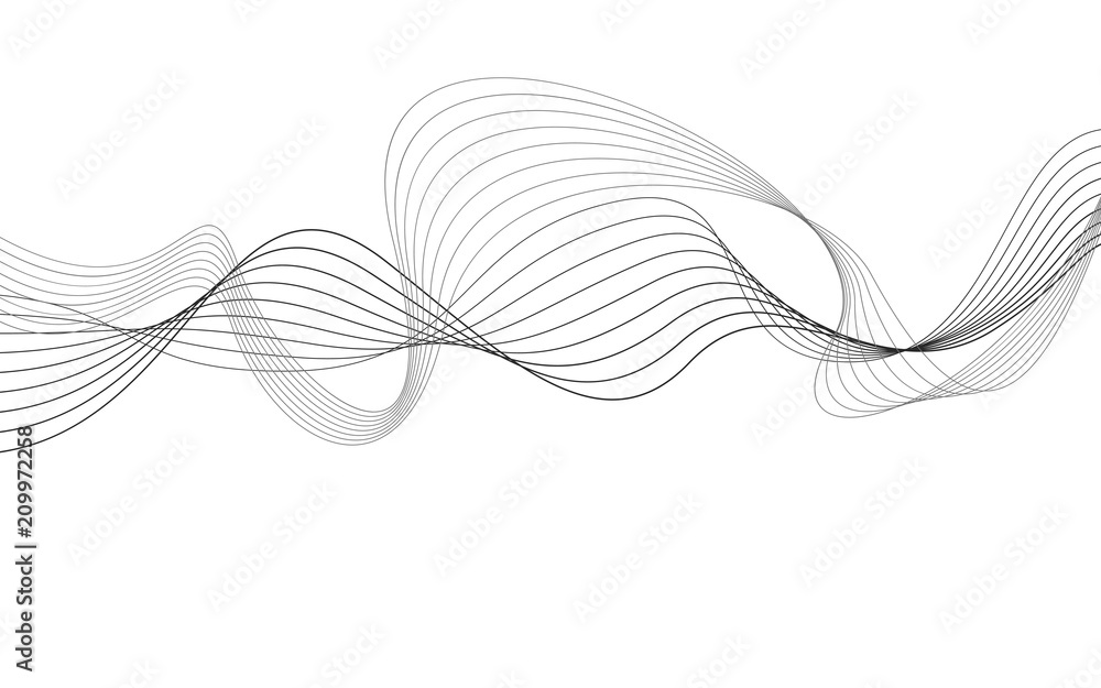 Fototapety, obrazy: curvy abstract line wave graphic gray background