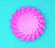 Leinwandbild Motiv Single color decorative flower on blue background. Paper origami.