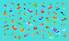 People Man And Woman, Girls And Boys Swimming In Floats Mattress, Diving Into Sea, Water, Pool Or Ocean. Summer Beach Vacations Scenes Constructor With Fun Cartoon Humans Set Over Blue Background