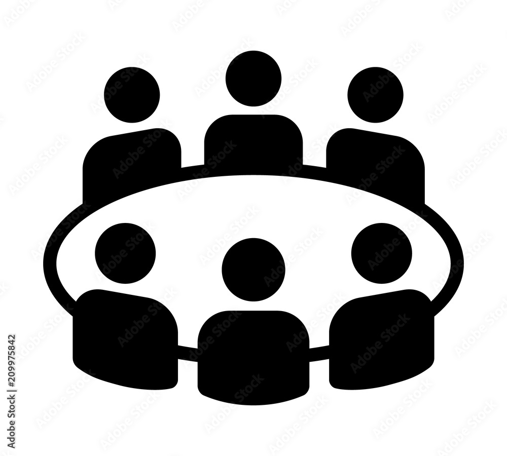 Fototapeta Team business meeting with teamwork and collaboration flat vector icon for apps and websites