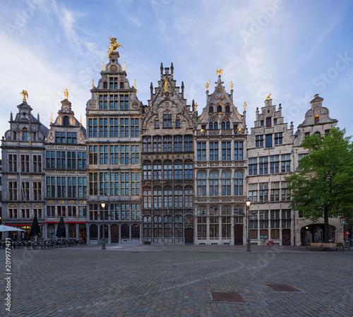 Poster Antwerp Guildhouses in Grote Markt (Market Square) in the town of Antwerp, Belgium.