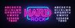 Hard Rock Neon Sign Vector Illustration. Design template neon signboard on Rock Music, Light banner, Bright Night Advertising. Vector. Editing text neon sign