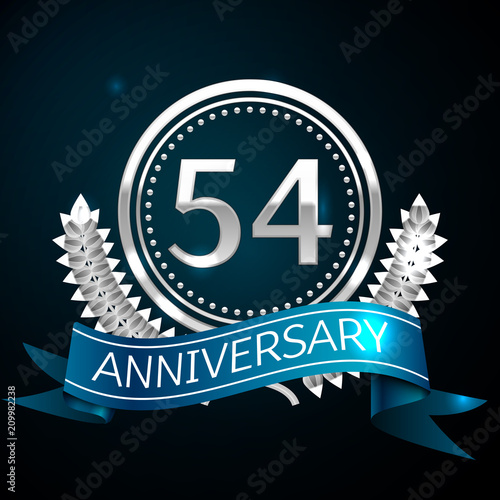 Poster  Realistic Fifty four Years Anniversary Celebration Design with Silver Ring and Laurel Wreath, blue ribbon on blue background