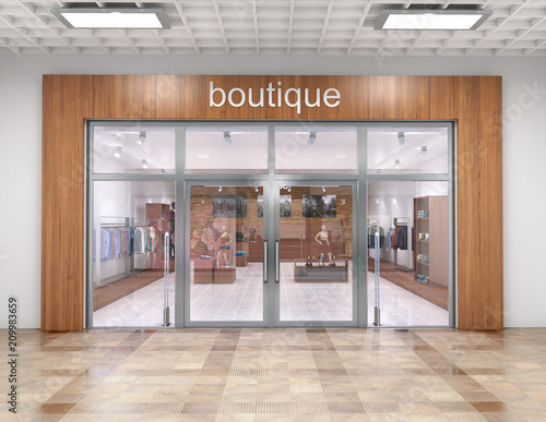 Store exterior in mall. 3d illustration