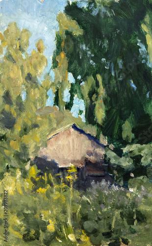Foto op Canvas Pistache landscape, oil painting, hand made