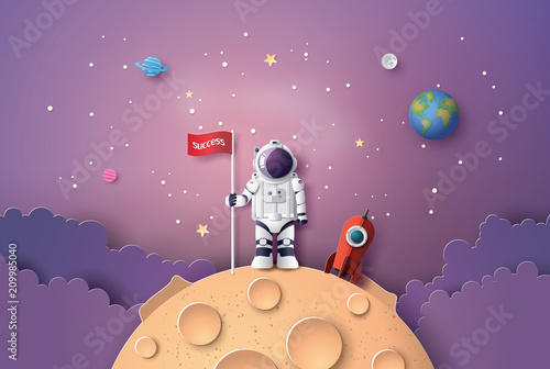 Leinwand Poster Astronaut with Flag on the moon